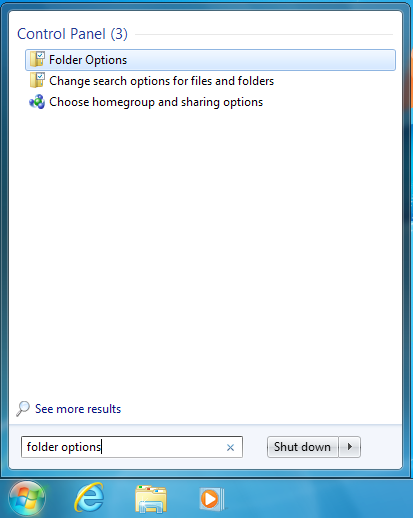 "Screenshot of a search for ""folder options"" in the Windows 7 Start Menu"