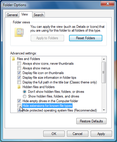 "Screenshot of the ""Folder Options"" window on Windows 7 with ""Hide extensions for known types"" turned off"
